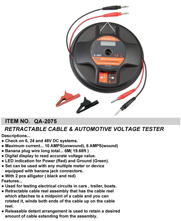 RETRACTABLE CABLE & AUTOMOTIVE VOLTAGE TESTER