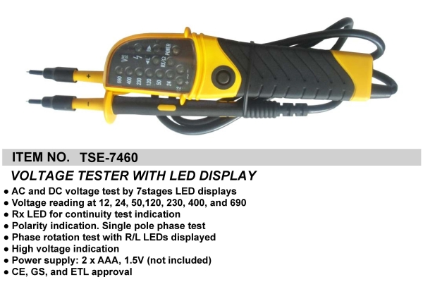 VOLTAGE TESTER WITH LED DISPLAY