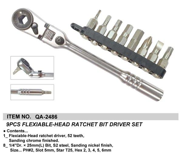9PCS FLEXIABLE-HEAD RATCHET BIT DRIVER SET