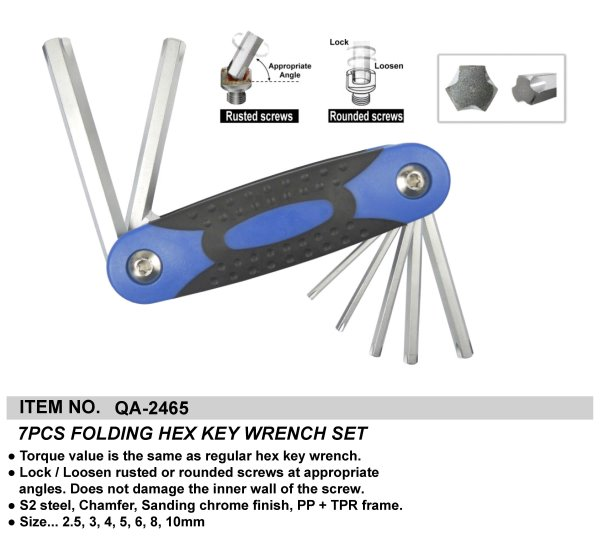 7PCS FOLDING HEX KEY WRENCH SET