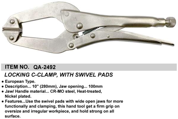 LOCKING C-CLAMP, WITH SWIVEL PADS