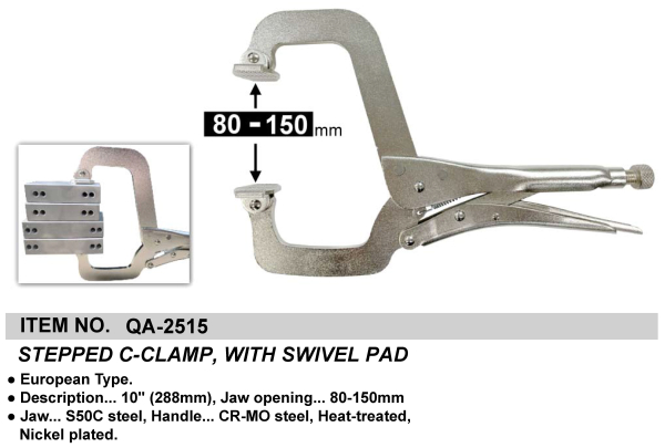 STEPPED C-CLAMP, WITH SWIVEL PAD