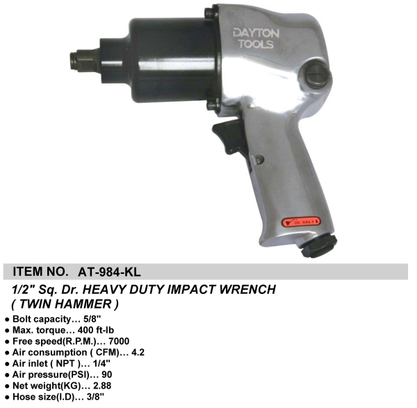 """1/2"""" Sq. Dr. HEAVY DUTY IMPACT WRENCH (TWIN HAMMER)"""