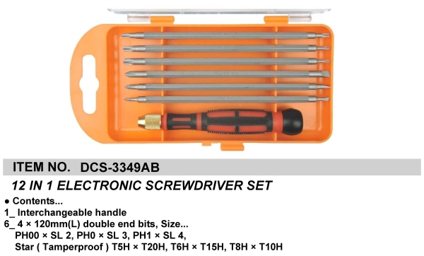 12 IN 1 ELECTRONIC SCREWDRIVER SET