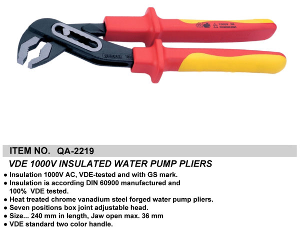 VDE 1000V INSULATED WATER PUMP PLIERS