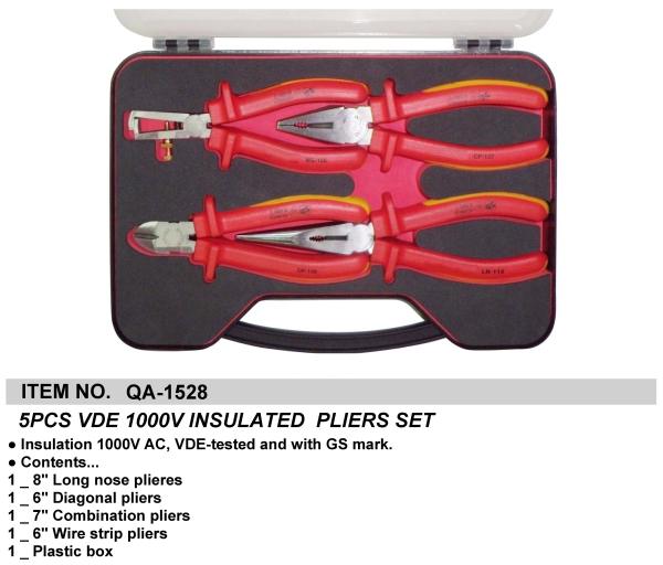 5PCS VDE 1000V INSULATED  PLIERS SET