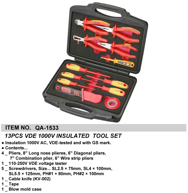 13PCS VDE 1000V INSULATED  TOOL SET